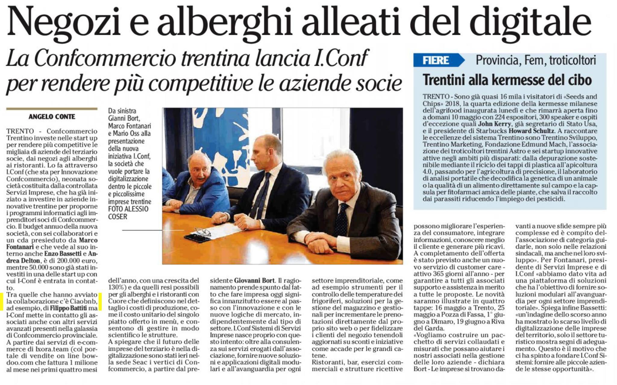 Ciaomanager sul quotidiano Adige